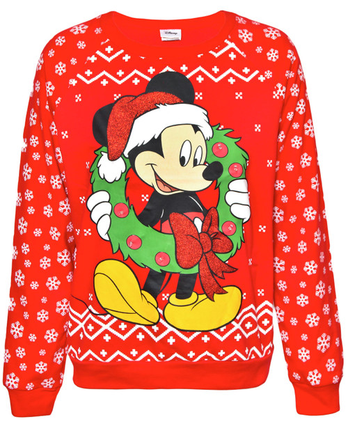 Mickey Mouse Wreath Light Up Holiday Sweater