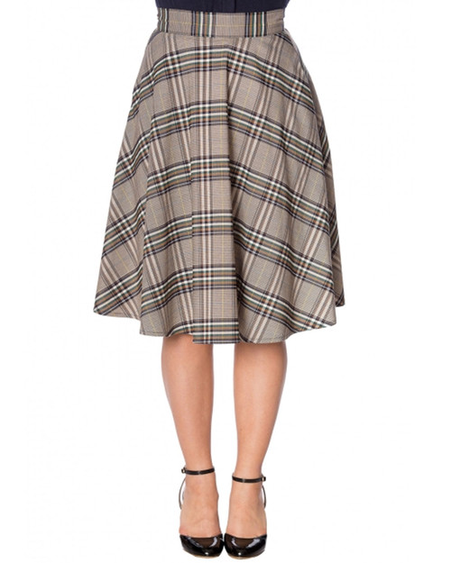 Banned Apparel Lady Olive Plaid High Waist A-Line Skirt