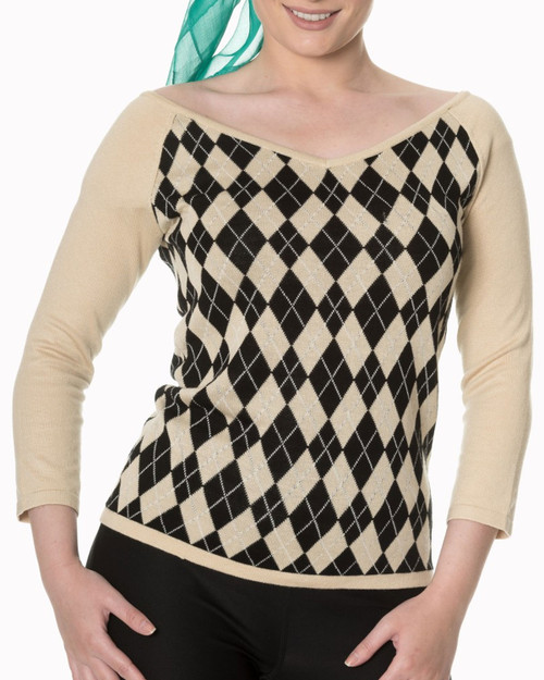 Banned Apparel Great Heights Argyle 3/4 Sleeve Sweater - Beige