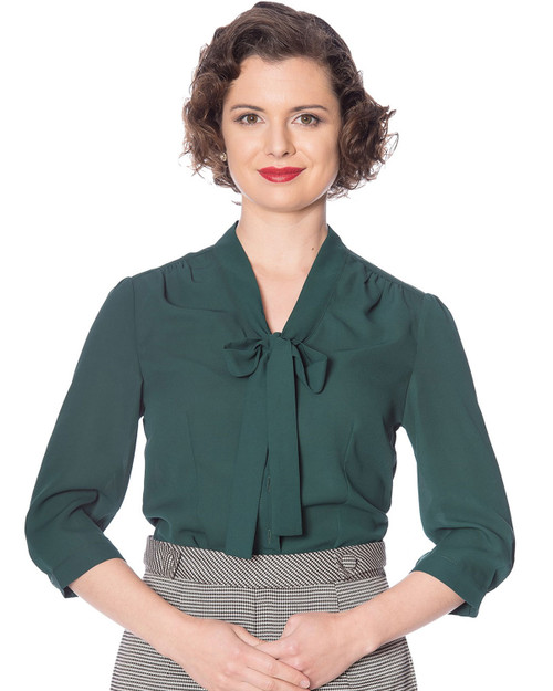 Banned Apparel Solid Pussy Bow 3/4 Sleeve Blouse emerald