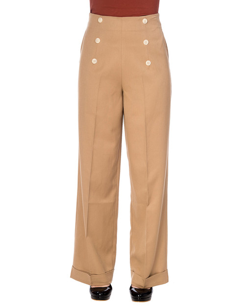 Banned Apparel Adventures Ahead Button High Waist Trousers khaki