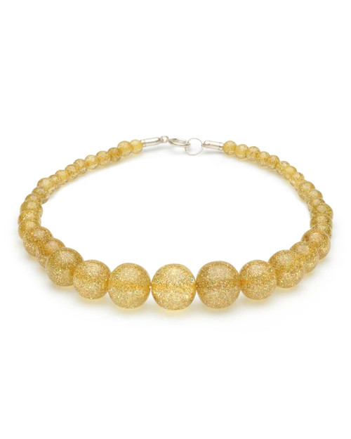Splendette Pale Gold Glitter Bead Necklace