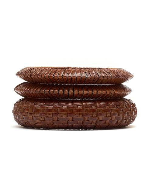 Splendette Woven Bamboo Bangle Set - Brown