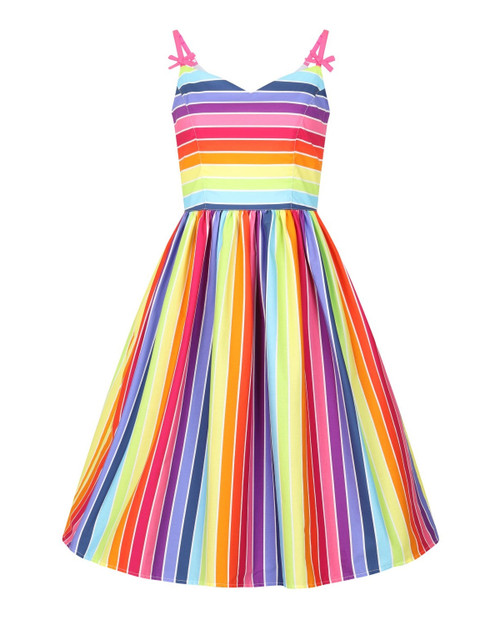 Hell Bunny Over The Rainbow Stripe Sleeveless Swing Dress