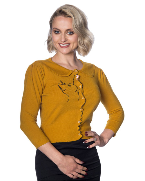 Banned Apparel Cat Peterpan Collar 3/4 Sleeve Cardigan-Mustard Front