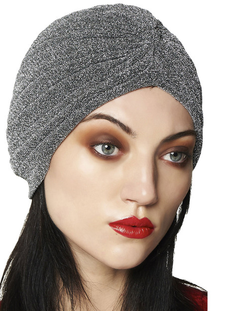 Banned Apparel Warlock Lurex Turban Silver Model