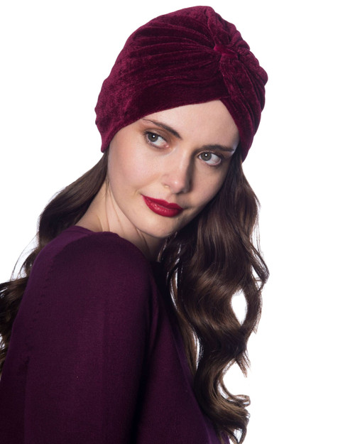 Banned Apparel Warlock Velvet Turban Model Wine