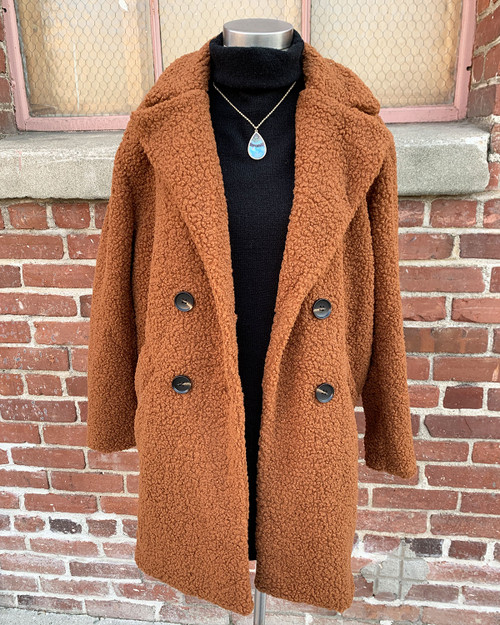 Teddy Double Breasted Oversized Longline Coat Cognac Front