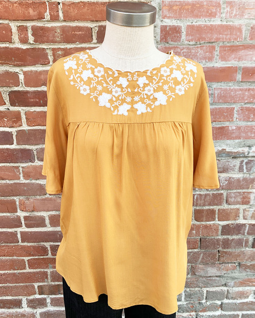 Embroidered Scalloped Babydoll Top