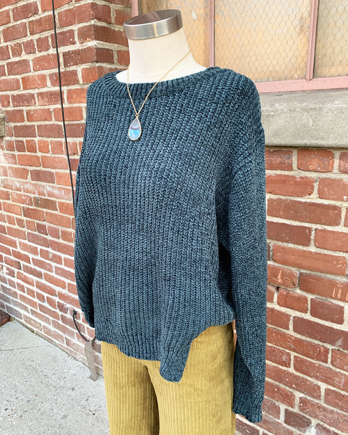 Cozy Oversized Chenille Pullover Sweater Teal Side