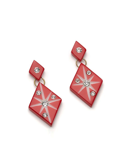 Starburst Carved Dangle Earrings in red