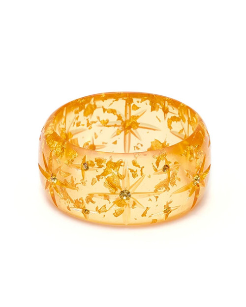 Splendette Extra Wide Starburst Foil Gold Fakelite Bangle