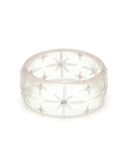 Splendette Extra Wide Starburst Clear Fakelite Bangle
