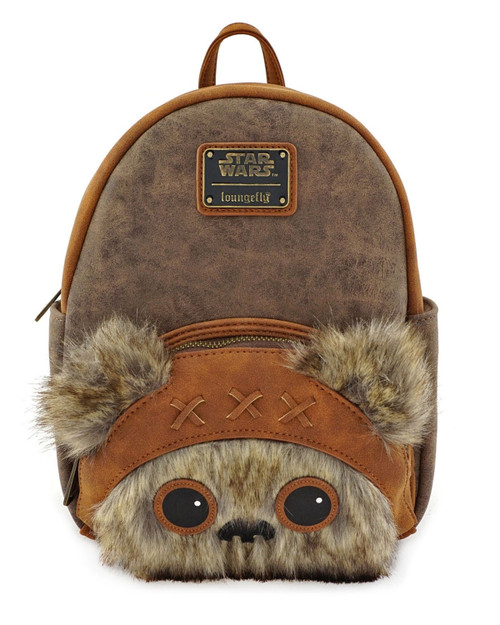 Loungefly x Disney Star Wars Wicket Faux Fur Mini Furry Trim Backpack -Brown front view