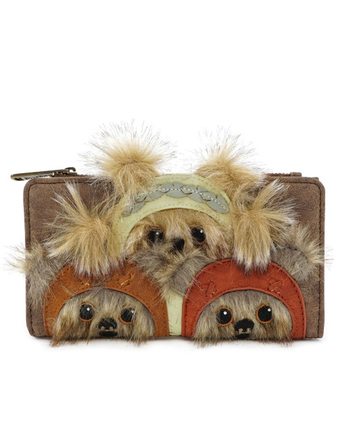 Loungefly x Star Wars Ewok Trio Faux Fur Leather Zip Wallet Brown-front view