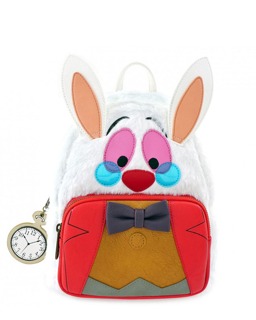 Loungefly x Disney's Alice in Wonderland White Rabbit Cosplay Mini Backpack -white front view