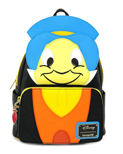 Loungefly x Disney's Pinocchio Jiminy Cricket Faux Leather Colorful Cosplay Mini Backpack -multi front view