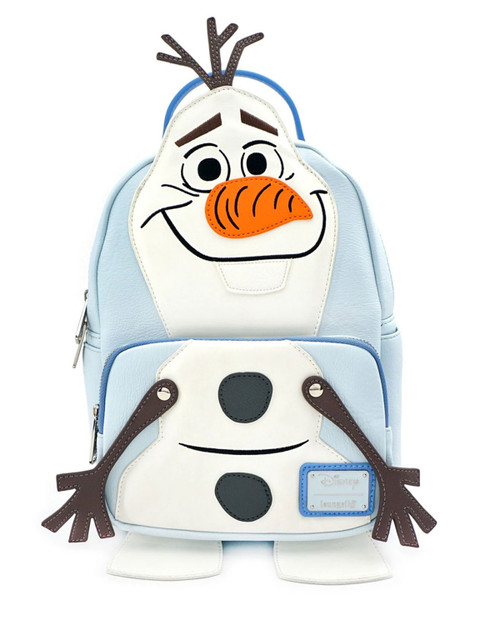 Loungefly x Disney's Frozen Olaf Cosplay Faux Leather Mini Backpack White and Blue-front view