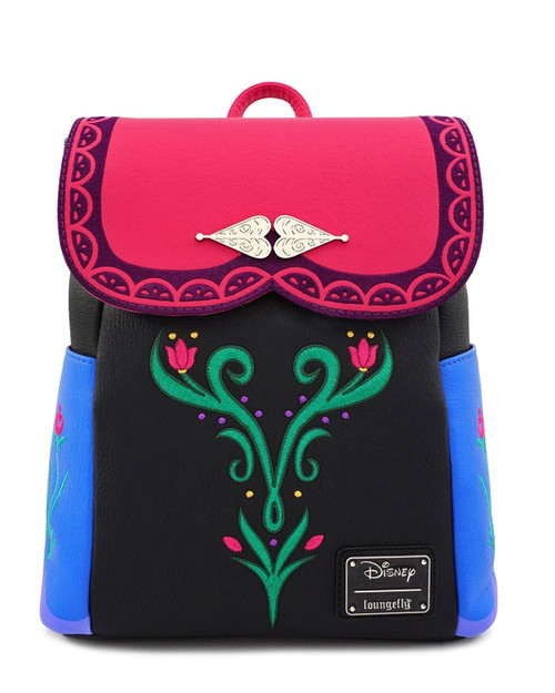 Loungefly x Disney's Frozen Anna Cosplay Faux Leather Mini Backpack Multi-front view