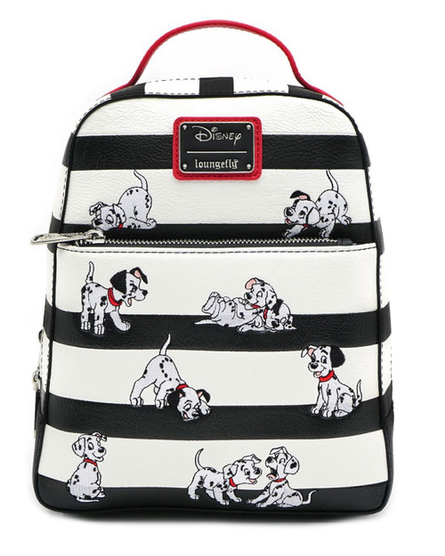Loungefly x Disney's 101 Dalmatians Faux Leather Striped Mini Backpack-black and white front view