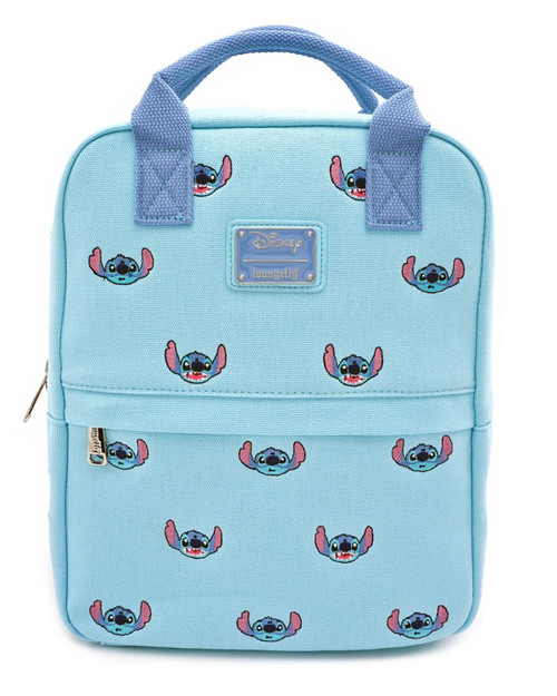 Loungefly x Disney's Lilo and Stitch Canvas Handle Mini Backpack Baby Blue-Front View
