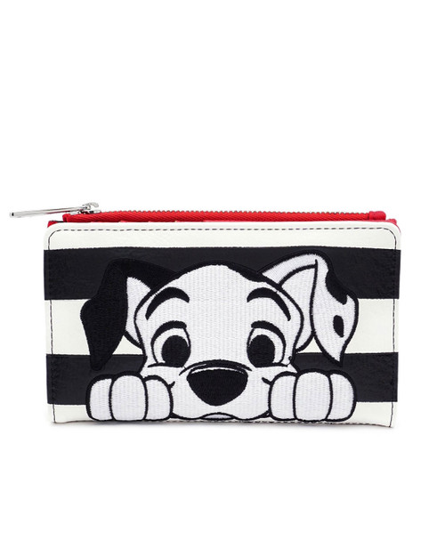 Loungefly x Disney's 101 Dalmatians Striped Wallet -Black and White Front View
