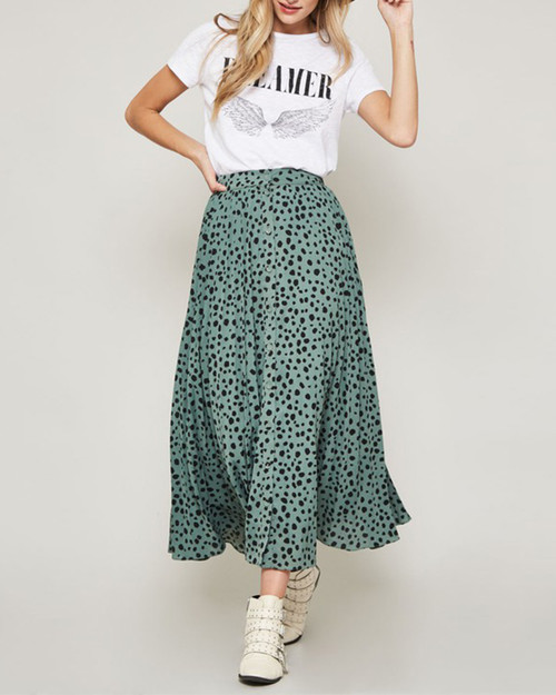Abstract Spot Button Down Pleated Midi Skirt  Sage with Black Polka Dot Spots - Front View
