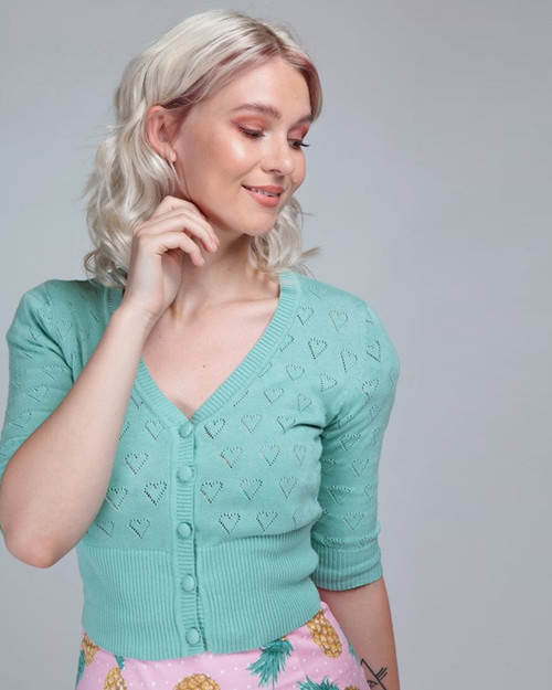 Collectif Evie Cutout Heart Pattern 3/4 Sleeve V-Neck Cropped Mint Cardigan-Front Model Shot