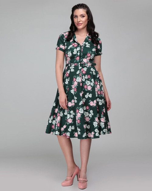 Collectif Retro 1950s Inspired Caterina Vintage Bloom Collared Swing Dress-Multicolored Model View