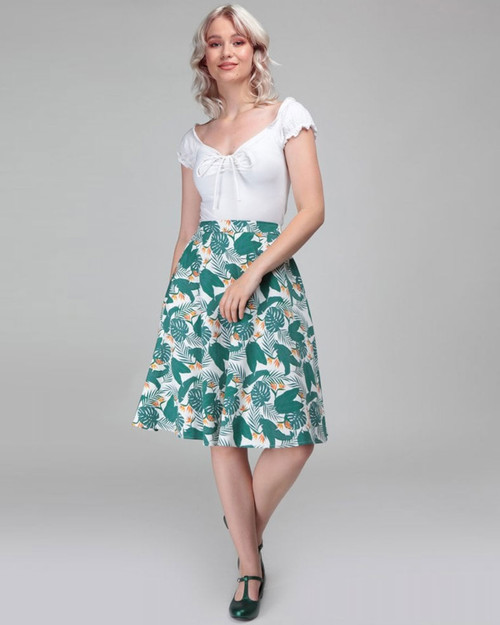 Collectif Retro Mattie Bird of Paradise Palm Leaf Print Swing Skirt-Green and White Model
