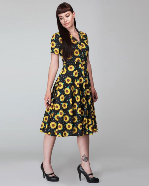 Collectif Retro Caterina Sunflower and Polka Dot Print Collared Swing Dress-Black/Yellow Model Shot
