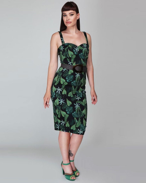 Collectif Retro Kiana Sweetheart Neck Black Tropical Forest Leaf Print Pencil Dress -Model View