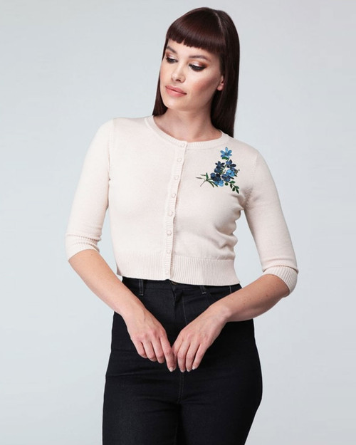 Collectif Retro Lucy Forget Me Not Floral 3/4 Sleeve Embroidered Button Down Cardigan-Ivory Model Shot