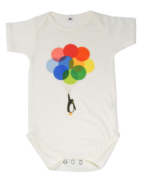 Penguin Balloons Short Sleeve Baby Onesie-Ivory Front View