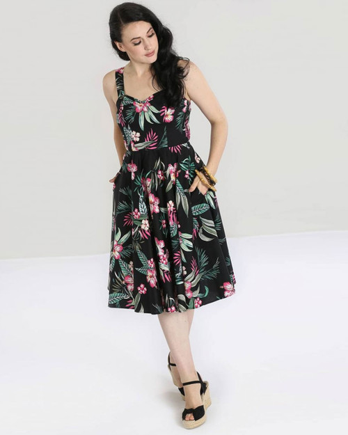 Hell Bunny Retro Kalani Tropical Hawaiian Hibiscus and Leaf Print Cami 1950's Dress -Black Model Shot