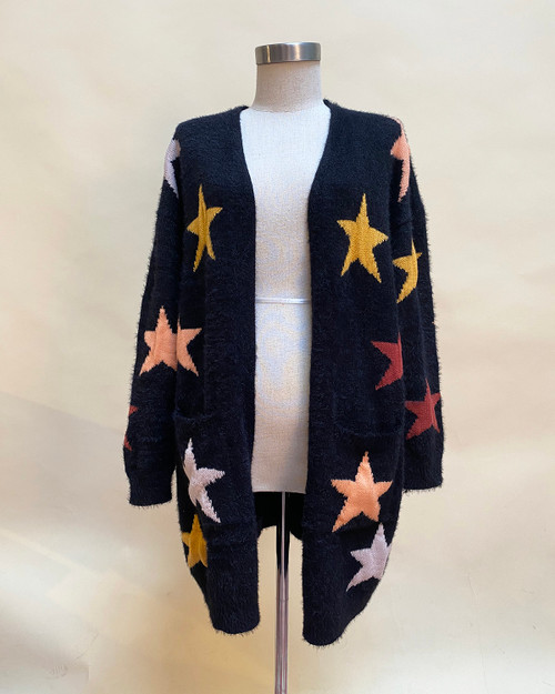 Black with mustard,burgundy,peach & lavender Star Print Fuzzy Knit Open Longline Cardigan - Front View