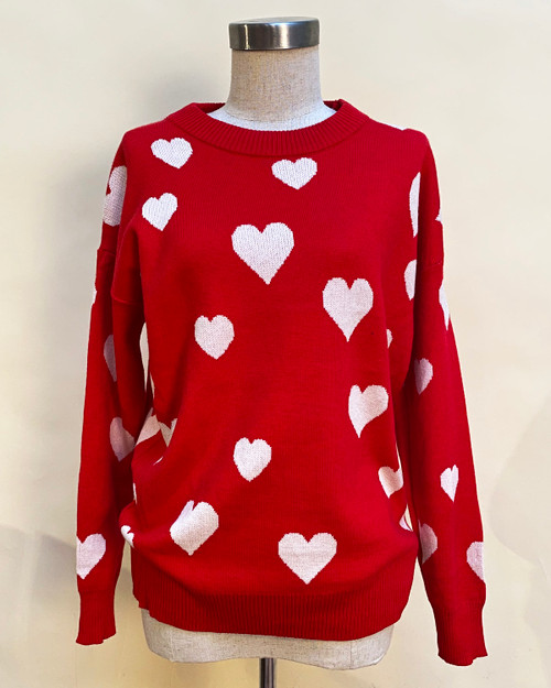 Red with White Hearts Print Oversized Long Sleeve Pullover Sweater Top - Front View