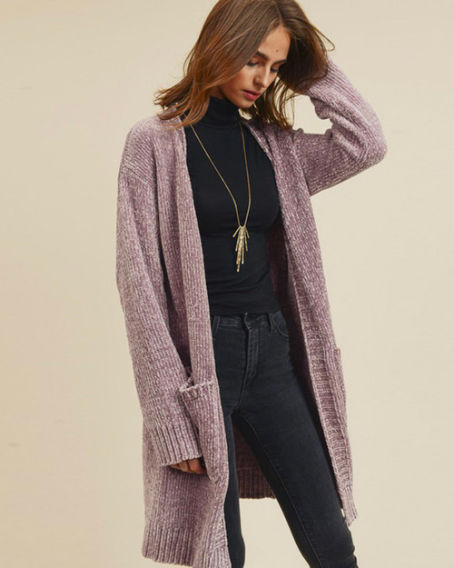 Lilac Chenille Longline Open Front Pocket Cardigan on Model- Front View