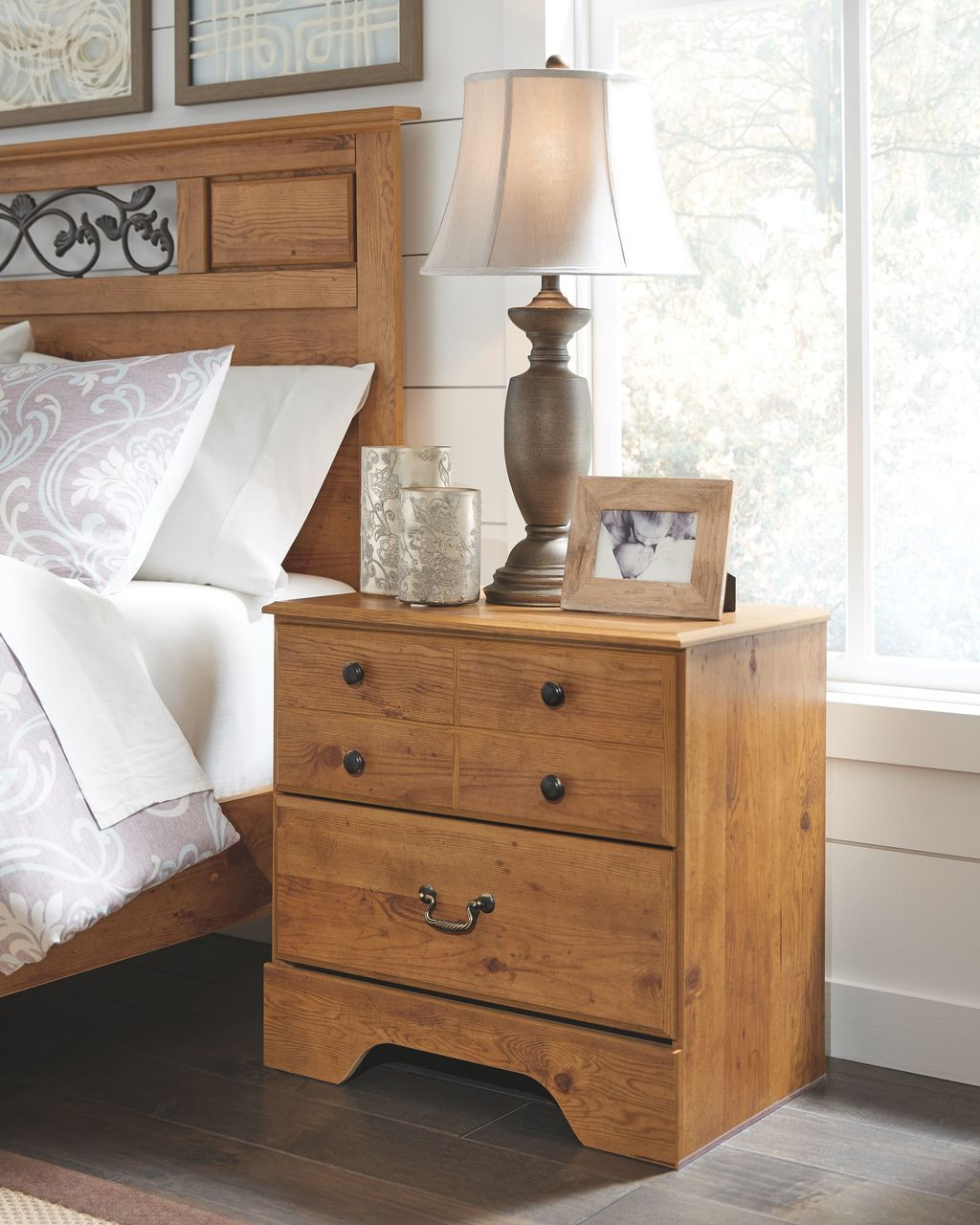 84bba8a311e9 The Bittersweet Light Brown Two Drawer Night Stand available at Logan  Furniture serving Dorchester