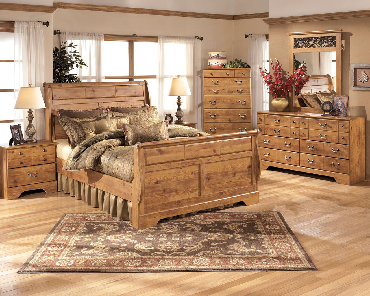 The Bittersweet Light Brown 8 Pc.Queen Sleigh Bedroom Collection ...