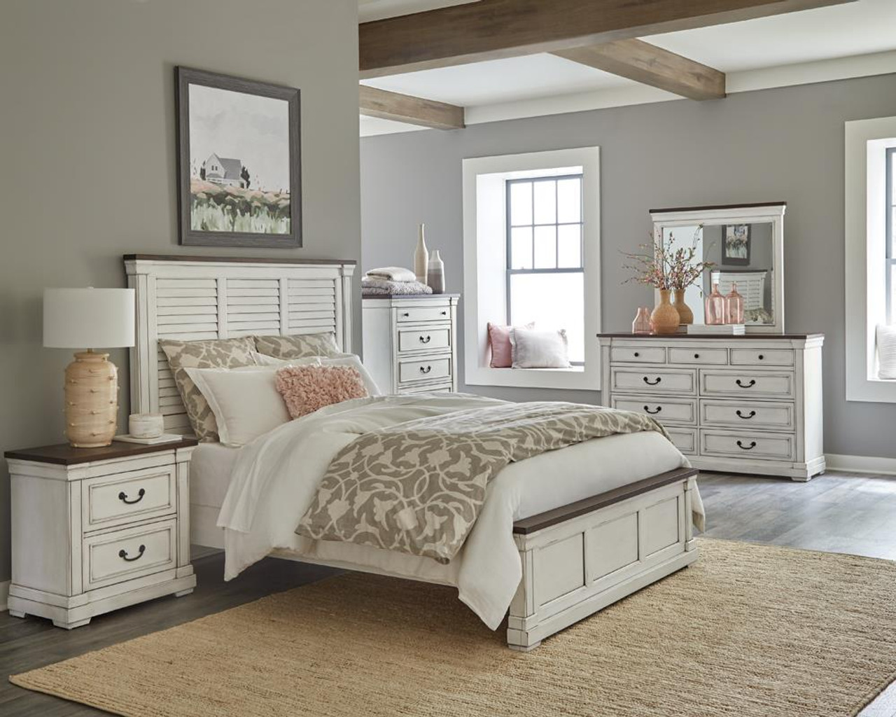 The Hillcrest 5 Piece Queen Panel Bedroom Set White And Dark Rum Available At Logan Furniture Serving Dorchester Ma
