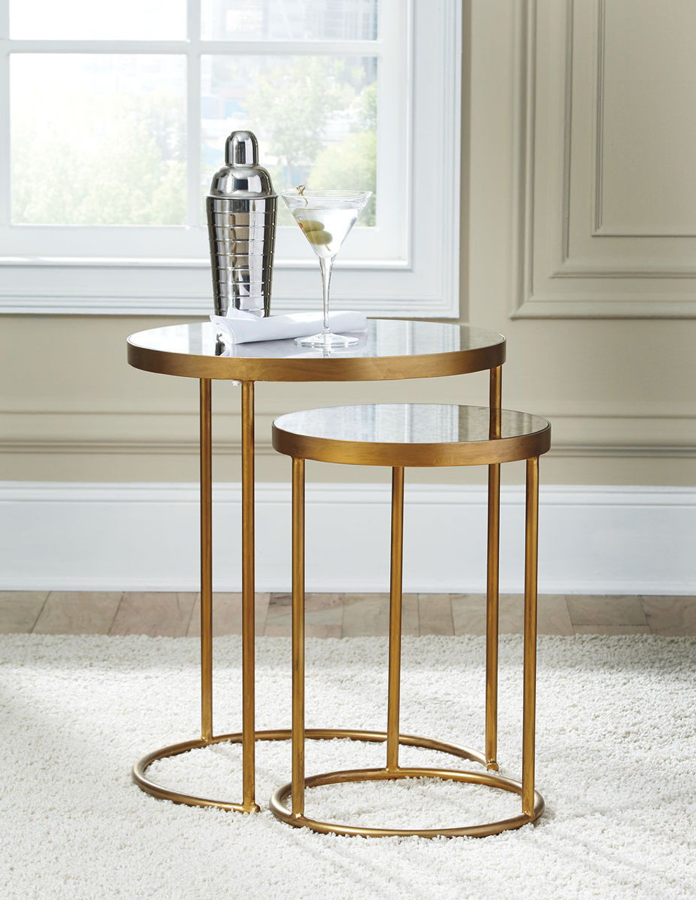 The majaci gold finish white accent table set of 2 available at logan furniture serving dorchester ma