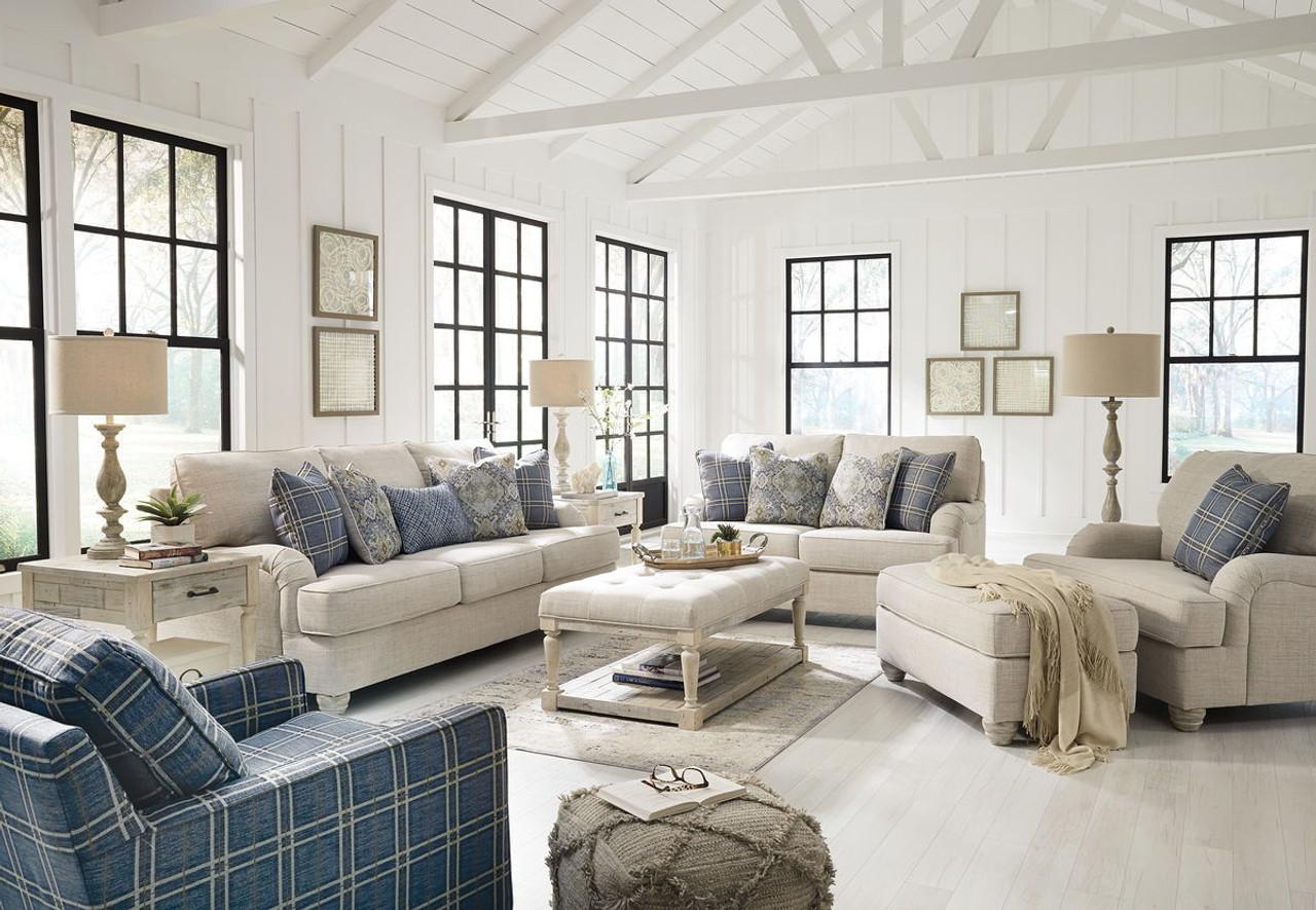 Traemore linen sofa loveseat chair and a half ottoman accent chair