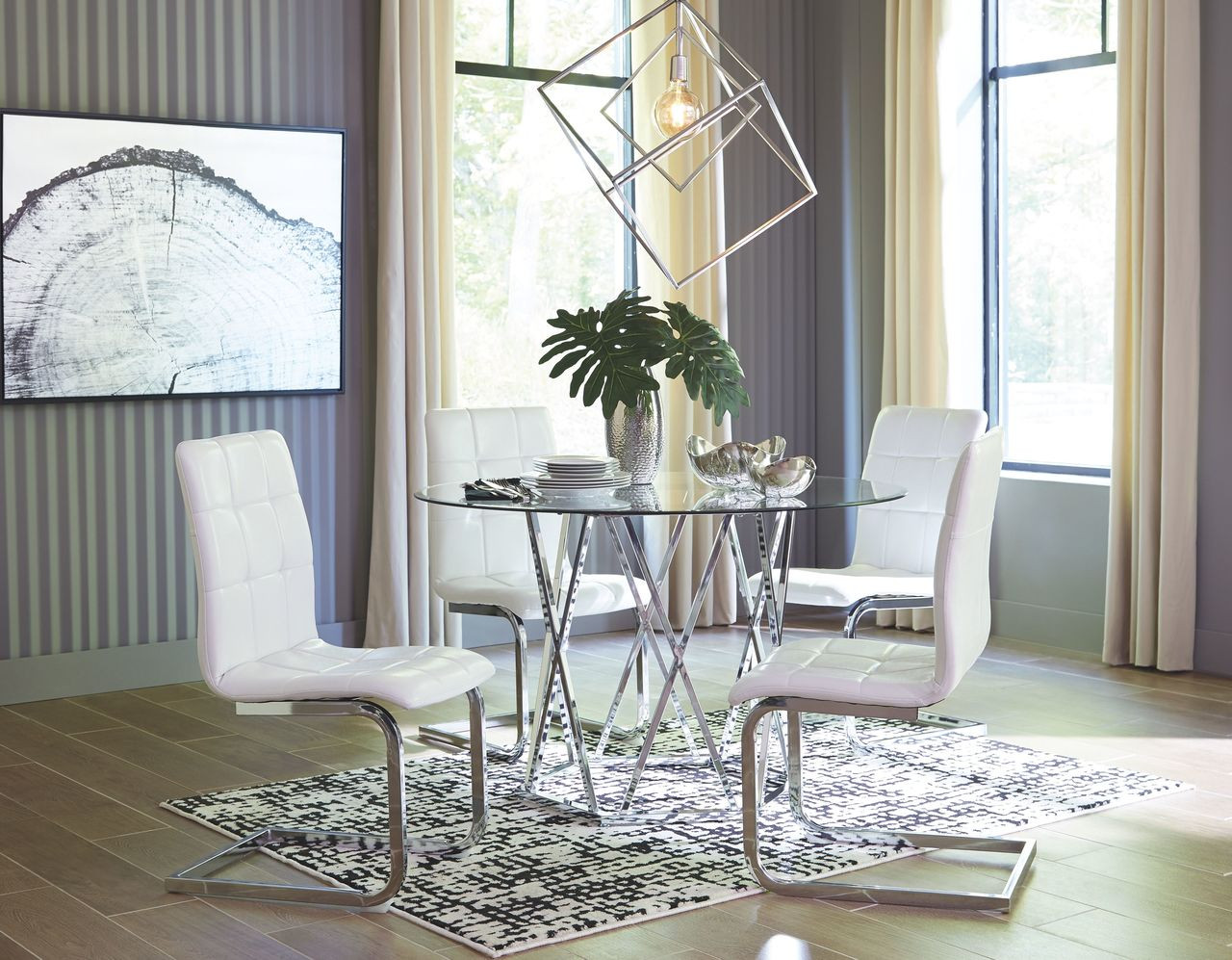 The Madanere Chrome Finish 5 Pc Round Table 4 Side Chairs