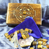Tiger's Eye Gemstone Rune Stones & Divination Energy Altar Box! Guidance!