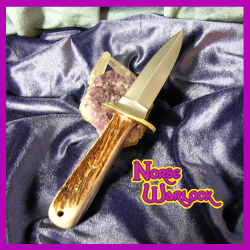 Athame of Elk Horn, Brass and Steel Ancient Rune Magick Ritual Tool