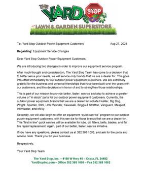 Equipment Service Changes 08-27-21