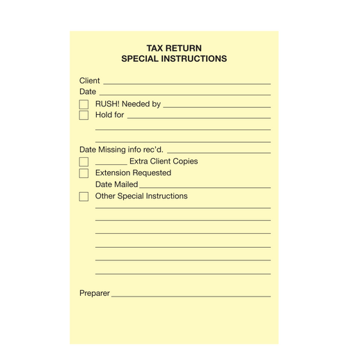 "1208414 - Post It Notes ""Tax Return Instructions"""