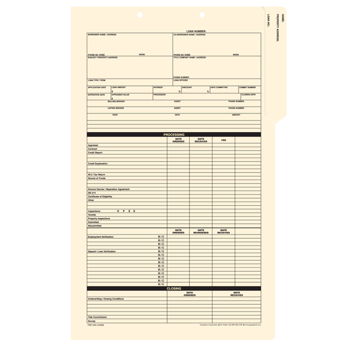 7429 - Mortgage Status Folder Manila