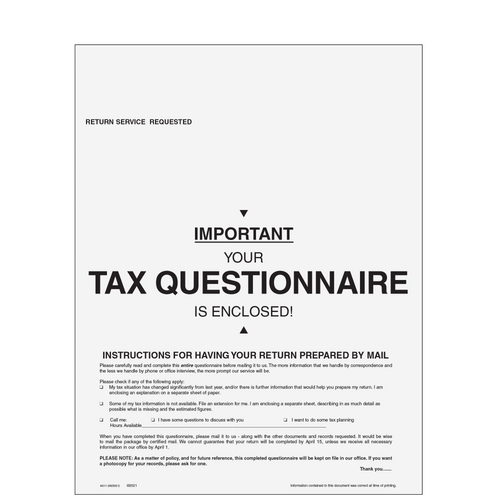 A011 - 1040 Tax Appointment Organizer for Returns by Mail